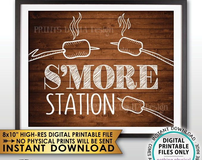 """S'more Station Sign, Smore Station, Roast Marshmallows, Roast S'mores Bar, Campfire, PRINTABLE 8x10"""" Rustic Wood Style Instant Download Sign"""