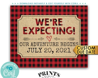 Lumberjack Pregnancy Announcement Sign, We're Expecting, Our Adventure Begins, PRINTABLE Baby Reveal Sign <Edit Yourself with Corjl>