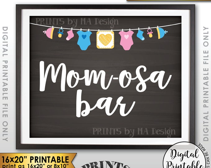 """Mimosa Bar Sign, MOMosa Sign, Make a Mimosa Drink, Mom-osa Sign Neutral Clothesline, Instant Download 8x10/16x20"""" Chalkboard Style Printable"""