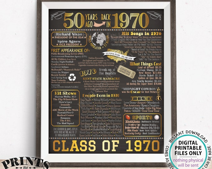"""50th Class Reunion Poster Board, Class of 1970 Flashback, PRINTABLE 16x20"""" Flashback Back in 1970 Sign, Graduated 50 Years Ago <ID>"""