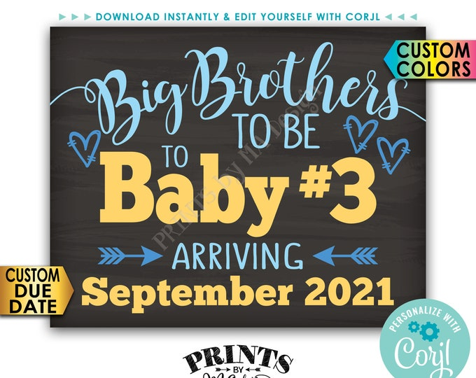 "Baby #3 Pregnancy Announcement, Big Brothers to Baby Number 3, PRINTABLE 8x10/16x20"" Sign, 3rd Baby, Third Child, <Edit Yourself with Corjl>"