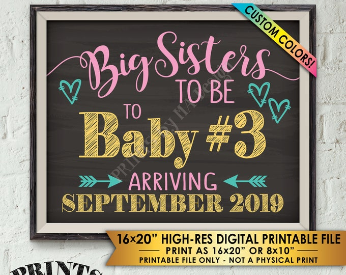 """Baby #3 Pregnancy Announcement, Big Sisters to 3rd Baby Number 3 Photo Prop Third, Custom Colors PRINTABLE 8x10/16x20"""" Chalkboard Style Sign"""