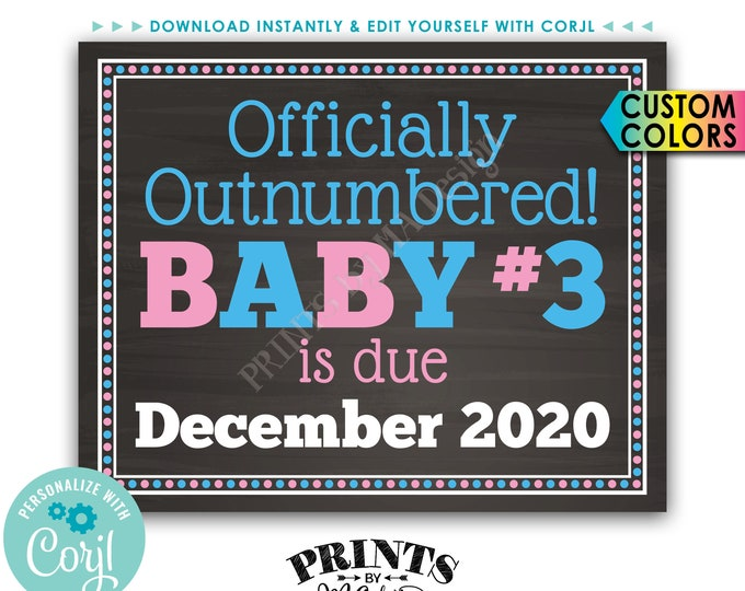 """Baby #3 Pregnancy Announcement, Officially Outnumbered, PRINTABLE 8x10/16x20"""" Baby Number 3 Reveal Sign <Edit Yourself with Corjl>"""