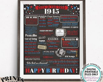 """Back in 1945 Birthday Poster Board, Flashback to 1945 Birthday Decoration, Gift, Patriotic PRINTABLE 16x20"""" Sign, B-day Decor <ID>"""
