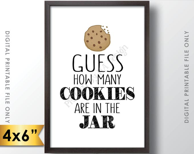 "Guess How Many Cookies are in the Jar Sign, Guess the Number of Cookies, Cookie Guessing Game, Birthday, 4x6"" Printable Instant Download"