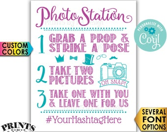 "Photo Station Sign, Take 2 Pictures, Take 1 Home & Leave One For Us, Custom Colors, PRINTABLE 8x10/16x20"" Sign <Edit Yourself with Corjl>"
