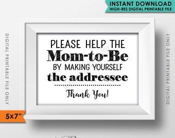 "Baby Shower Address Envelope Sign, Help the Mom-to-Be Address an envelope, Thank You Envelope, Shower Decor, 5x7"" Instant Download Printable"