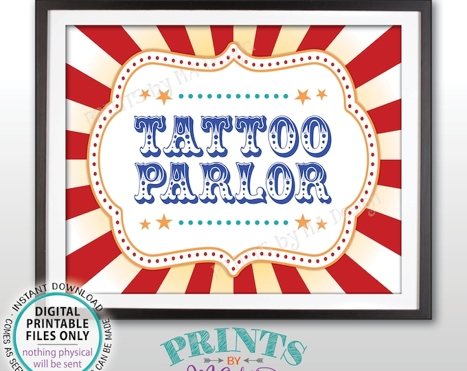 """Tattoo Parlor Carnival Party Sign, Carnival Games, Circus Party Tattoo Studio Circus Activities, Birthday, PRINTABLE 8x10/16x20"""" Sign <ID>"""