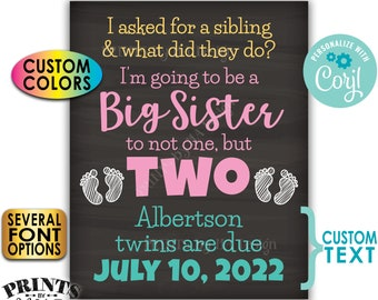 "I'm Going to be a Big Sister to Twins Pregnancy Announcement, PRINTABLE 8x10/16x20"" Chalkboard Style Twins Sign <Edit Yourself with Corjl>"