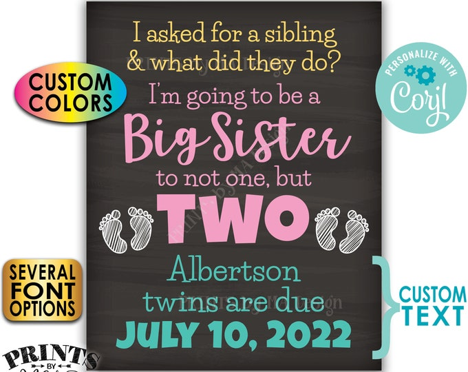 """I'm Going to be a Big Sister to Twins Pregnancy Announcement, PRINTABLE 8x10/16x20"""" Chalkboard Style Twins Sign <Edit Yourself with Corjl>"""