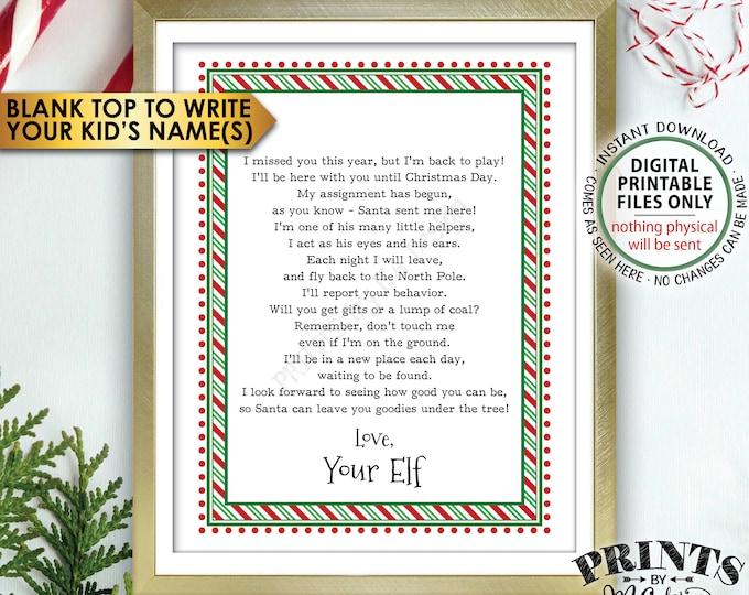 "Welcome Back Letter to Kids from their Christmas Elf, The Elf has Returned, Elf Hello Letter, PRINTABLE 8.5x11"" Elf Sign <Instant Download>"