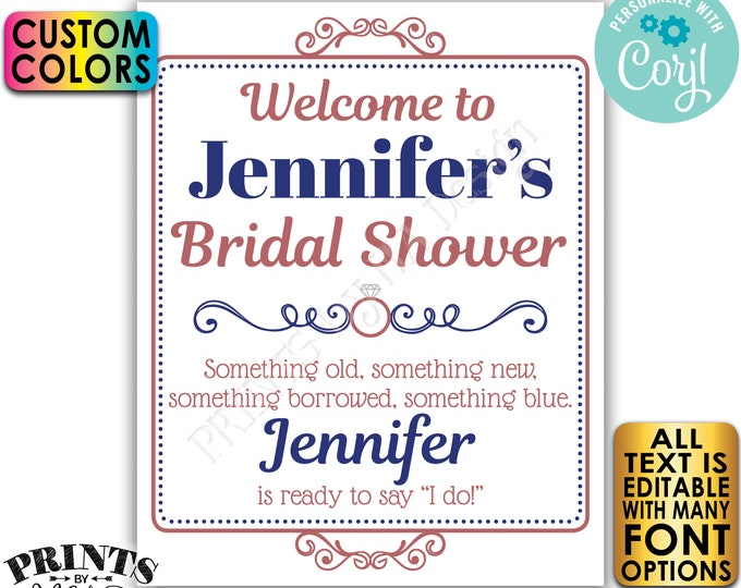 "Bridal Shower Welcome Sign, Editable Bridal Shower Decor, Custom PRINTABLE 8x10/16x20"" Sign <Edit Yourself w/Corjl>"