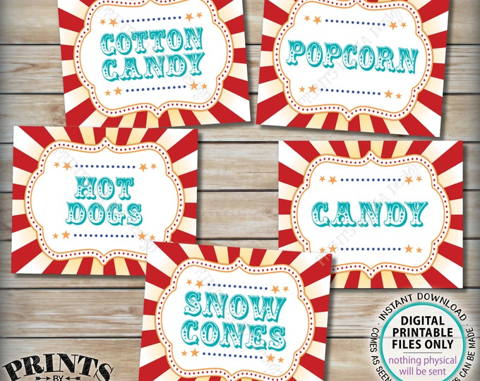 """Carnival Food Signs, Popcorn, Cotton Candy, Hot Dogs, Snow Cones, Circus Party, Teal, PRINTABLE 8x10/16x20"""" Carnival Theme Food Signs <ID>"""