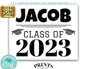 """Class of Sign, High School or College Grad, Custom PRINTABLE 8x10/16x20"""" B&W Graduation Party Decoration <Edit Yourself with Corjl>"""