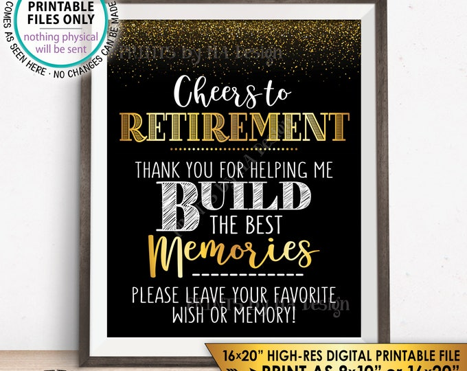 "Retirement Party Sign, Leave Your Favorite Wish or Memory, Cheers to Retirement Celebration, Black & Gold 8x10"" PRINTABLE Instant Download"