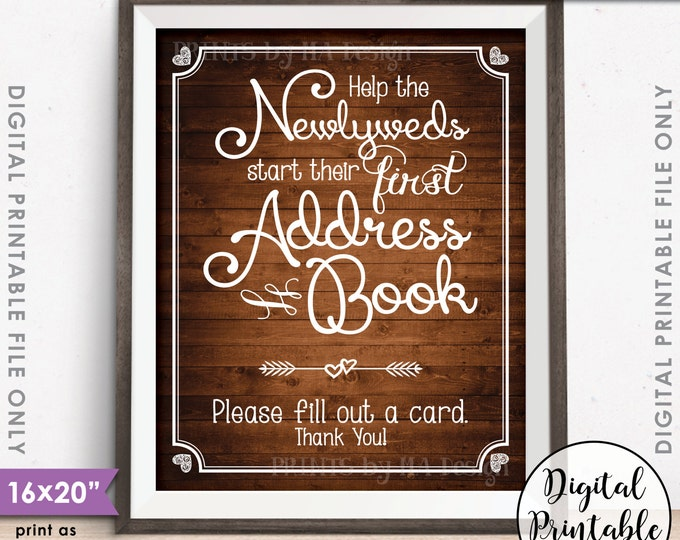 """Address Book Wedding Sign, Ask Guests for their Address, Create Address Book Sign, Instant Download 8x10/16x20"""" Rustic Wood Style Printable"""