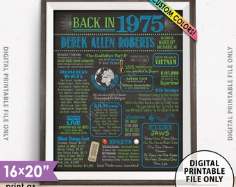 "43rd Birthday Flashback to 1975 Poster, Back in 1975 Birthday Party 1975 Custom Chalkboard Style PRINTABLE 8x10/16x20"" 1975 Flashback Sign"