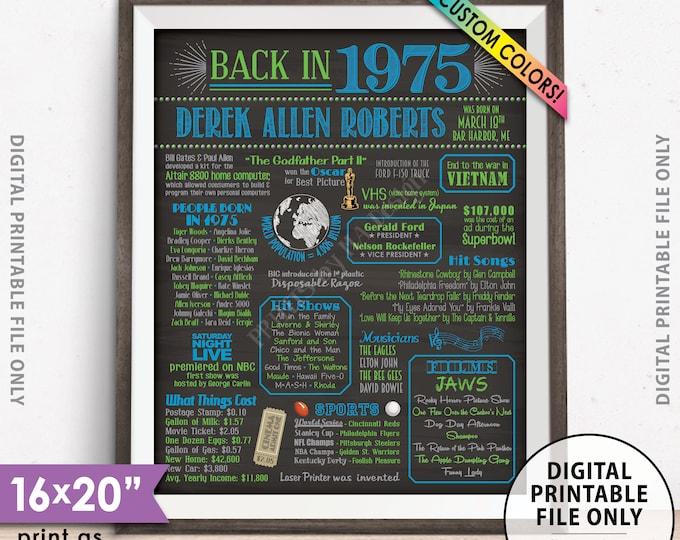 "43rd Birthday Flashback to 1975 Poster, Back in 1975 Birthday Party 1975 Custom Chalkboard Style PRINTABLE 8x10/16x20"" 1975 Flashback Sign"