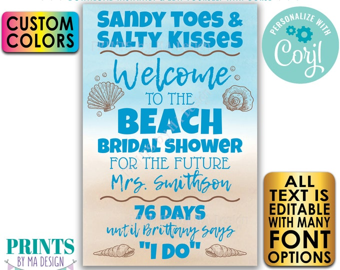 "Beach Bridal Shower, Seashells & Wedding Bells, Custom PRINTABLE 24x36"" Watercolor Style Countdown Welcome Poster <Edit Yourself w/Corjl>"