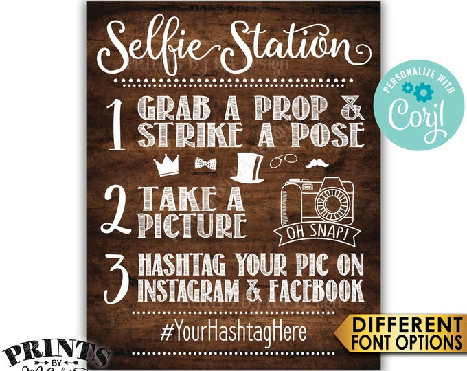 """Selfie Station Sign, Share on Instagram & Facebook, PRINTABLE 8x10/16x20"""" Rustic Wood Style Hashtag Sign <Edit Yourself with Corjl>"""