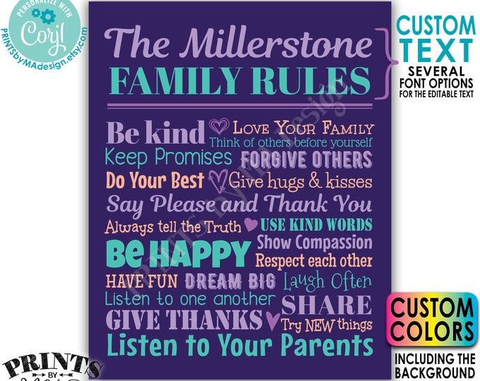 """Editable Family Rules Sign, Family Wall Art, House Rules, Custom Colors PRINTABLE 8x10/16x20"""" Sign <Edit Yourself w/Corjl>"""