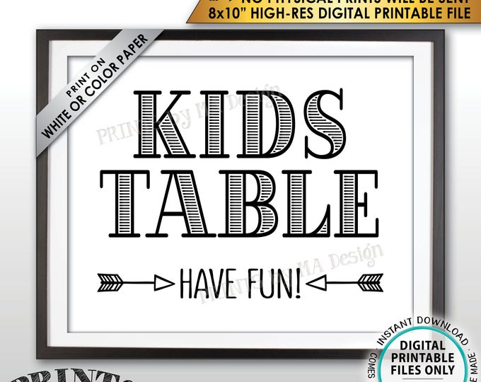 """Kids Table Sign, Have Fun Wedding Reception Activities for Kids Table Sign, PRINTABLE 8x10"""" Instant Download Wedding Sign, Kids Corner Sign"""