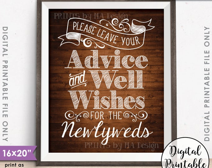 "Advice and Well Wishes, Please Leave your Advice & Well Wishes for the Newlyweds, 8x10/16x20"" Rustic Wood Style Printable Instant Download"