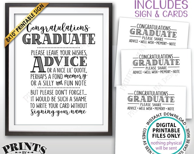 "Graduation Advice, Congratulations Graduate, Memory Advice Well Wishes, PRINTABLE Graduation Party 8x10"" Sign & 8.5x11"" Sheet of Cards <ID>"