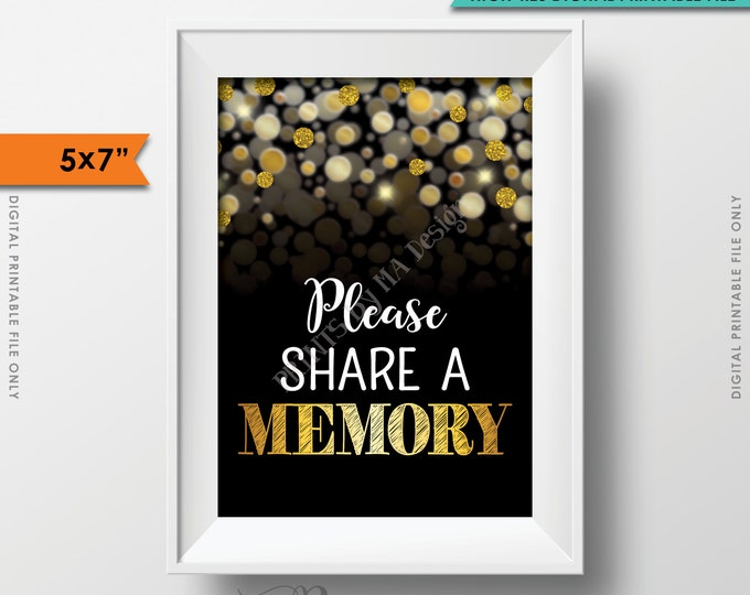 """Share a Memory Sign, Write a Memory, Birthday, Anniversary, Retirement, Graduation, Black & Gold Glitter Instant Download 5x7"""" Printable"""