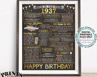 "Back in 1937 Birthday Poster Board, Flashback to 1937 Birthday Decoration, 1937 B-day Gift, PRINTABLE 16x20"" Sign <ID>"