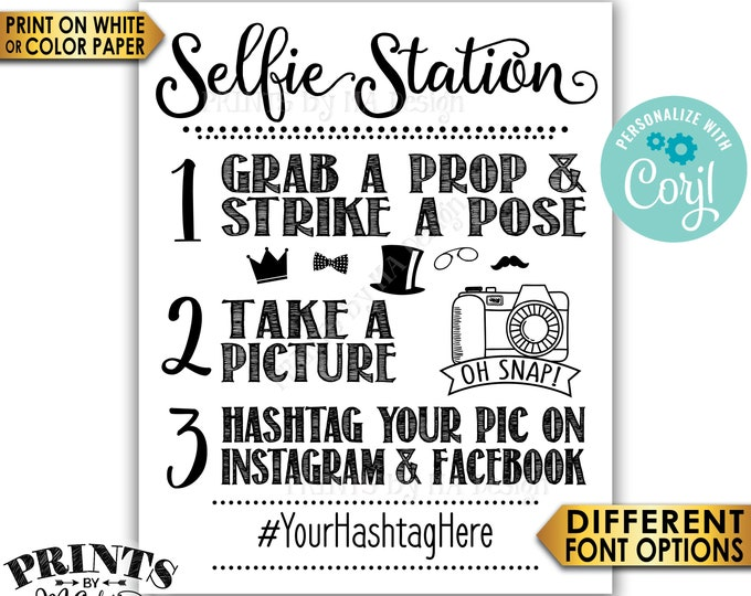 """Selfie Station Sign, Share on Instagram & Facebook, PRINTABLE 8x10/16x20"""" Hashtag Sign <Edit Yourself with Corjl>"""