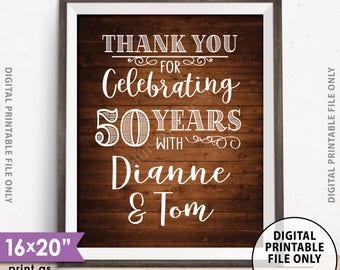 """Anniversary Party Sign, Thank You for Celebrating Anniversary Party Decoration, Gift Table, Rustic Wood Style PRINTABLE 8x10/16x20"""" Sign"""