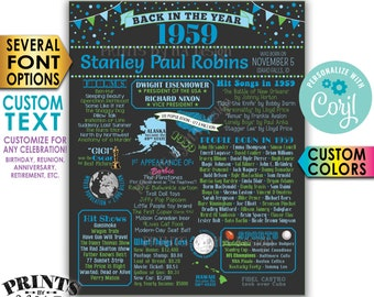 """Back in 1959 Poster, Birthday Anniversary Reunion, Custom PRINTABLE 16x20"""" 1959 Flashback Sign <Edit Yourself with Corjl>"""