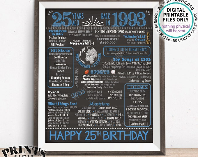 "25th Birthday Gift, Flashback 25 Years Ago Back in 1993 Born in 1993 Birthday, Blue, PRINTABLE 8x10/16x20"" Chalkboard Style B-day Sign <ID>"