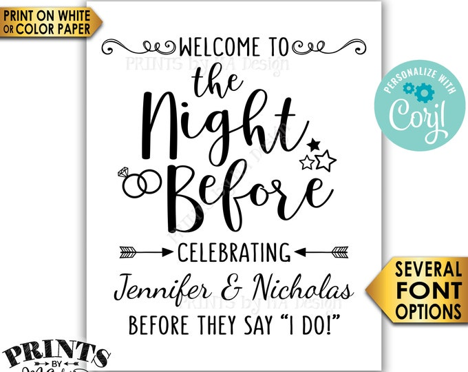 The Night Before Sign, Welcome to the Night Before Rehearsal Dinner Sign, PRINTABLE Sign <Edit Yourself with Corjl>