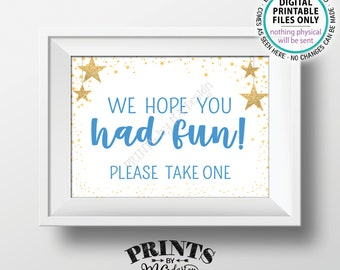 """Baby Shower Favors Sign, We Hope You Had Fun Please Take One, Twinkle Stars Baby Shower Decor, Blue, PRINTABLE 5x7"""" Baby Shower Sign <ID>"""