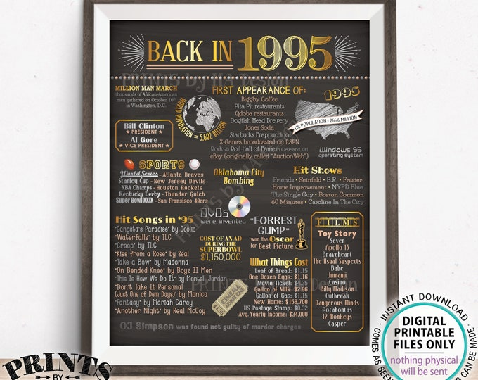 "Back in 1995 Poster Board, Flashback to 1995, Remember 1995, USA History from 1995, PRINTABLE 16x20"" Sign <ID>"