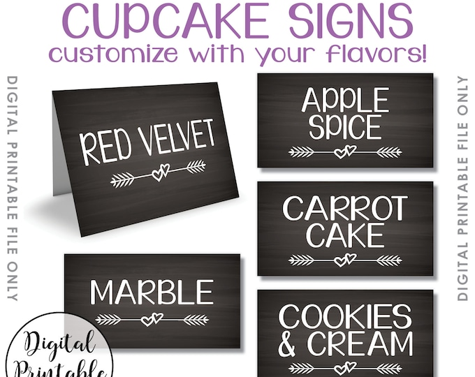 "Cupcake Menu Flavors Signs, Cupcakes, Wedding Shower Birthday Cupcake Sign, Mini Menu Signs, PRINTABLE Chalkboard Syle 1.75x3.25"" on 8.5x11"""