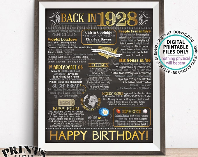 "1928 Flashback Poster, Birthday Flashback to 1928 USA History Back in 1928, Birthday, Gold, Chalkboard Style PRINTABLE 16x20"" Sign <ID>"