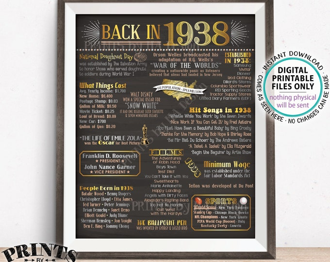 """1938 Flashback Poster, Flashback to 1938 USA History Back in 1938, Birthday Anniversary Reunion, PRINTABLE 16x20"""" Chalkboard Style Sign <ID>"""