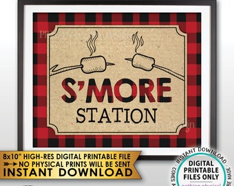 "S'more Station Sign, Lumberjack Smore Station, S'mores Bar, Campfire, Red Checker Buffalo Plaid, Christmas, PRINTABLE 8x10"" Smore Sign <ID>"