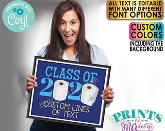 """Editable Class of 2020 Toilet Paper Sign, Custom Text and Colors, One PRINTABLE 8x10/16x20"""" Landscape TP Sign <Edit Yourself with Corjl>"""
