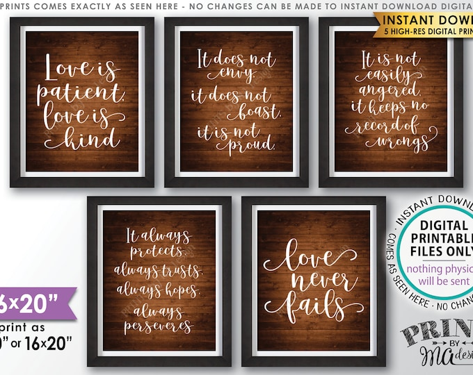 "Love is Patient Love is Kind, Wedding Aisle, 1 Corinthians 13, Set of 5 Signs, PRINTABLE 8x10/16x20"" Rustic Wood Style Wedding Signs <ID>"