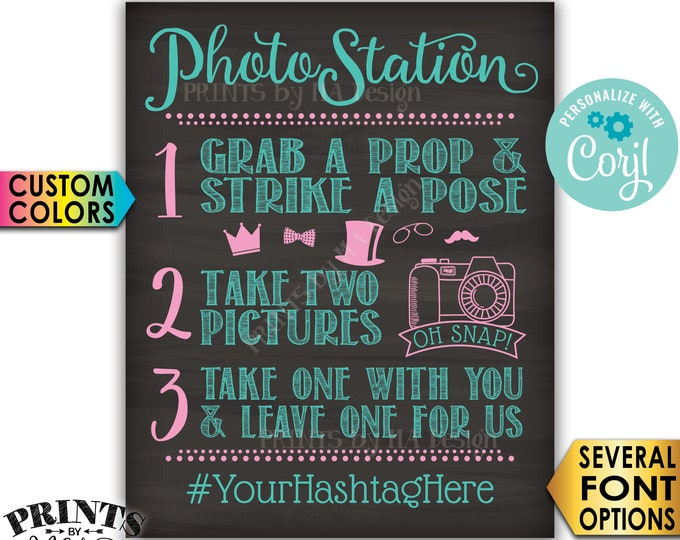 """Photo Station Sign, Take 2 Pictures & Leave One For Us, Custom PRINTABLE 8x10/16x20"""" Chalkboard Style Sign <Edit Yourself with Corjl>"""