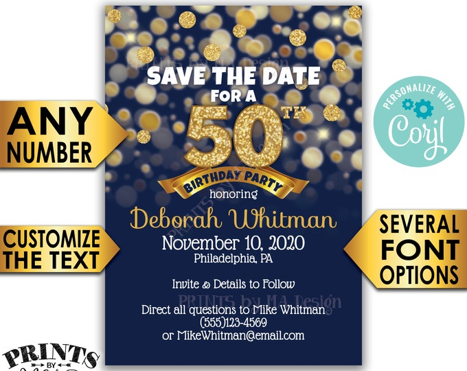 """Navy Blue & Gold Glitter Birthday Party Save the Date, PRINTABLE 5x7"""" Golden Bday Invite <Edit Yourself with Corjl>"""