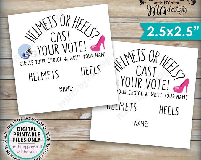 """Gender Reveal Party Vote Card, Helmets or Heels Cast Your Vote Gender Reveal Vote He or She Vote, PRINTABLE 2.5"""" Gender Reveal Ballots <ID>"""