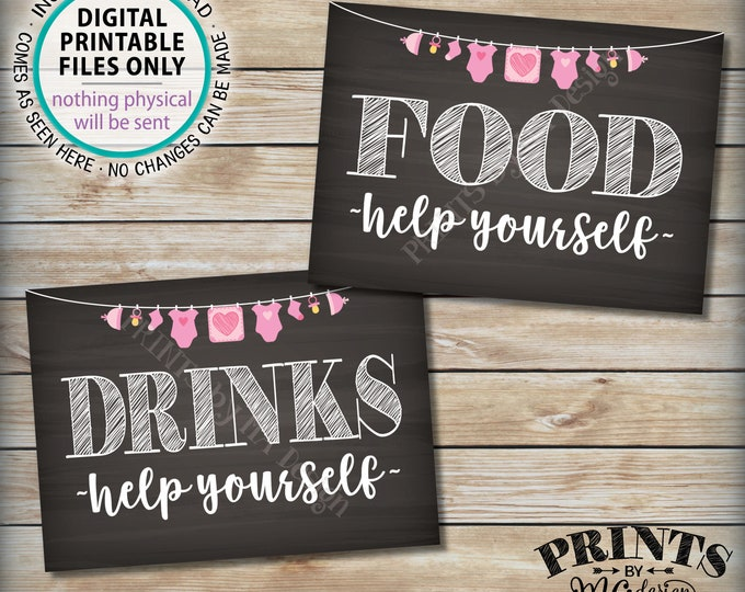 """Food and Drinks Signs, Help Yourself, Buffet, Baby Shower Decorations, Pink Clothesline Girl, Two PRINTABLE 5x7"""" Chalkboard Style Signs <ID>"""