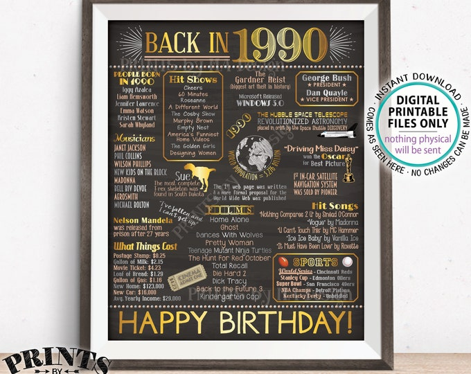 "Back in 1990 Birthday Sign, Flashback to 1990 Poster Board, '90 B-day Gift, Bday Decoration, PRINTABLE 16x20"" Sign <ID>"