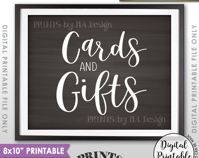 """Cards and Gifts Sign, PRINTABLE 8x10"""" Chalkboard Style Gift Table Sign <ID>"""