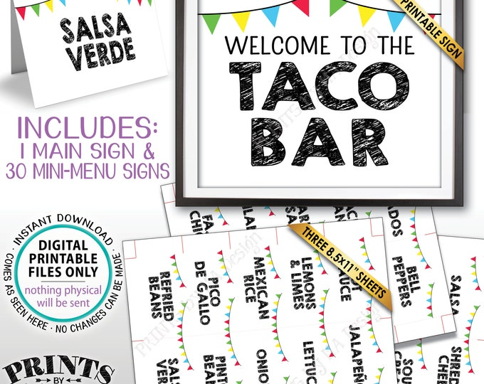 """Taco Bar Sign and Labels, Taco Buffet, Build Your Own Taco Station, Mexican Fiesta, PRINTABLE 8x10"""" Taco Bar Sign & 2x3.5"""" Menu Labels <ID>"""